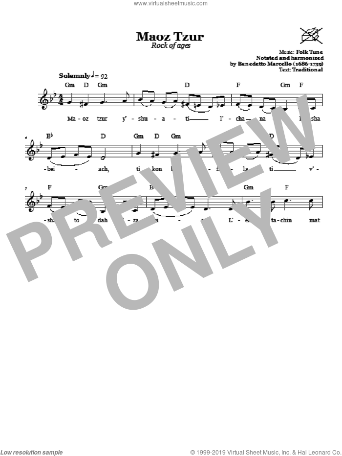 Maoz Tzur (Rock Of Ages) sheet music for voice and other instruments (fake book), intermediate. Score Image Preview.