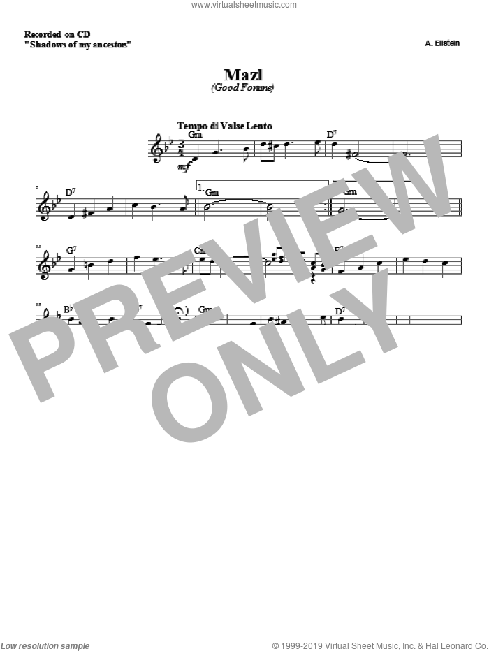 Mazl sheet music for voice and other instruments (fake book) by Zinovy Goro, intermediate skill level