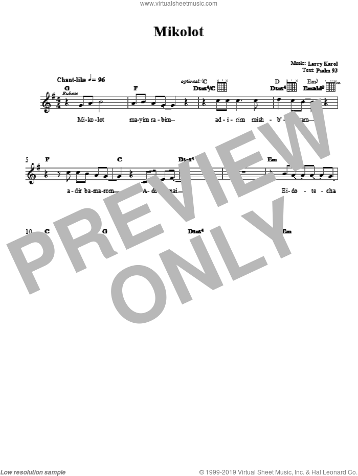 Mikolot sheet music for voice and other instruments (fake book) by Larry Karol, intermediate. Score Image Preview.