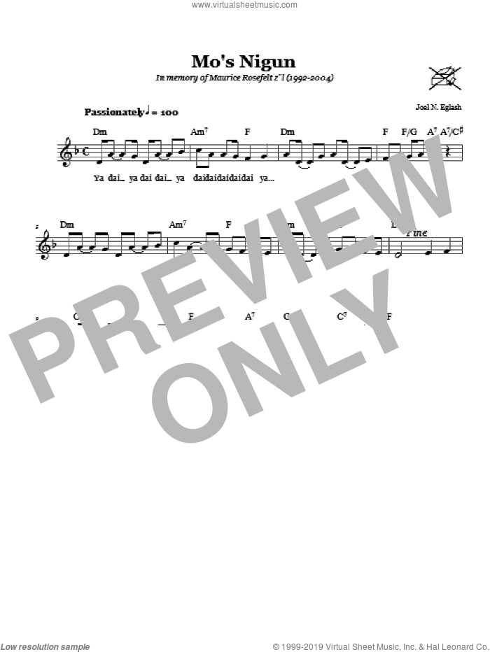 Mo's Nigun (Wordless Melody) sheet music for voice and other instruments (fake book) by Joel N. Eglash