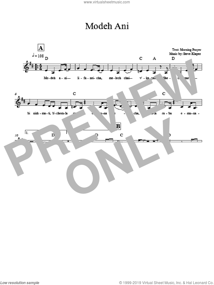 Modeh Ani sheet music for voice and other instruments (fake book) by Steve Klaper. Score Image Preview.