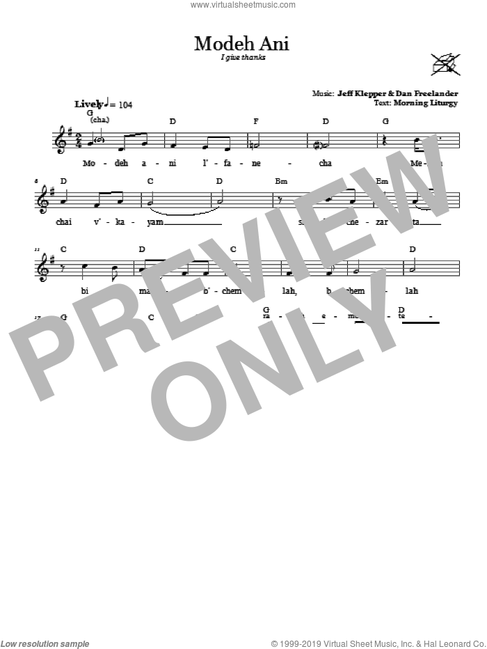 Modeh Ani (I Give Thanks) sheet music for voice and other instruments (fake book) by Dan Freelander. Score Image Preview.