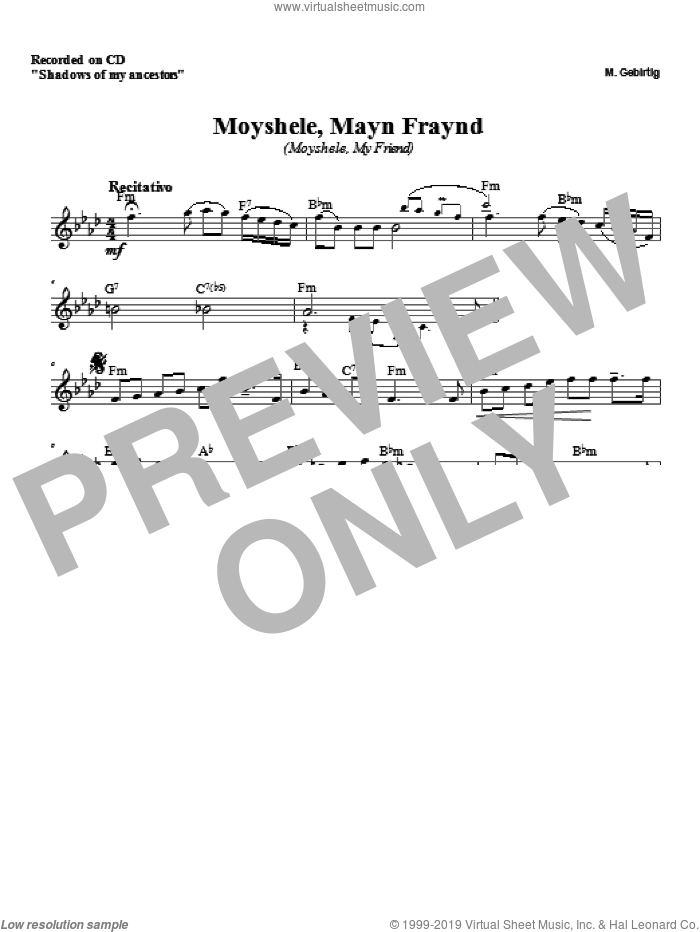 Moyshele, Mayn Freund sheet music for voice and other instruments (fake book) by Zinovy Goro. Score Image Preview.