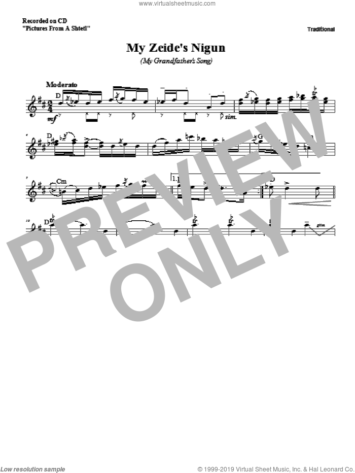 My Zeide's Nigun sheet music for voice and other instruments (fake book) by Zinovy Goro