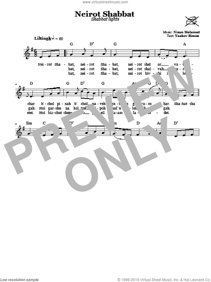 Neirot Shabbat (Shabbat Lights) sheet music for voice and other instruments (fake book) by Nisan Melamed. Score Image Preview.