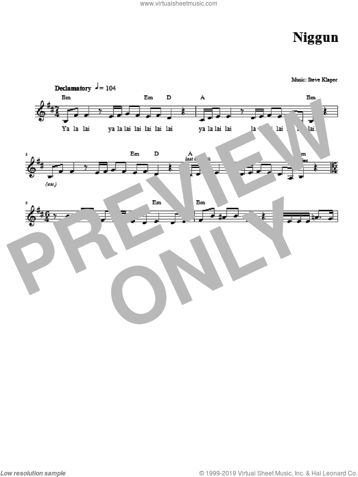 Niggun sheet music for voice and other instruments (fake book) by Steve Klaper. Score Image Preview.