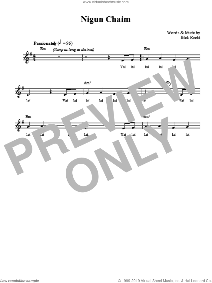 Nigun Chaim sheet music for voice and other instruments (fake book) by Rick Recht, intermediate. Score Image Preview.