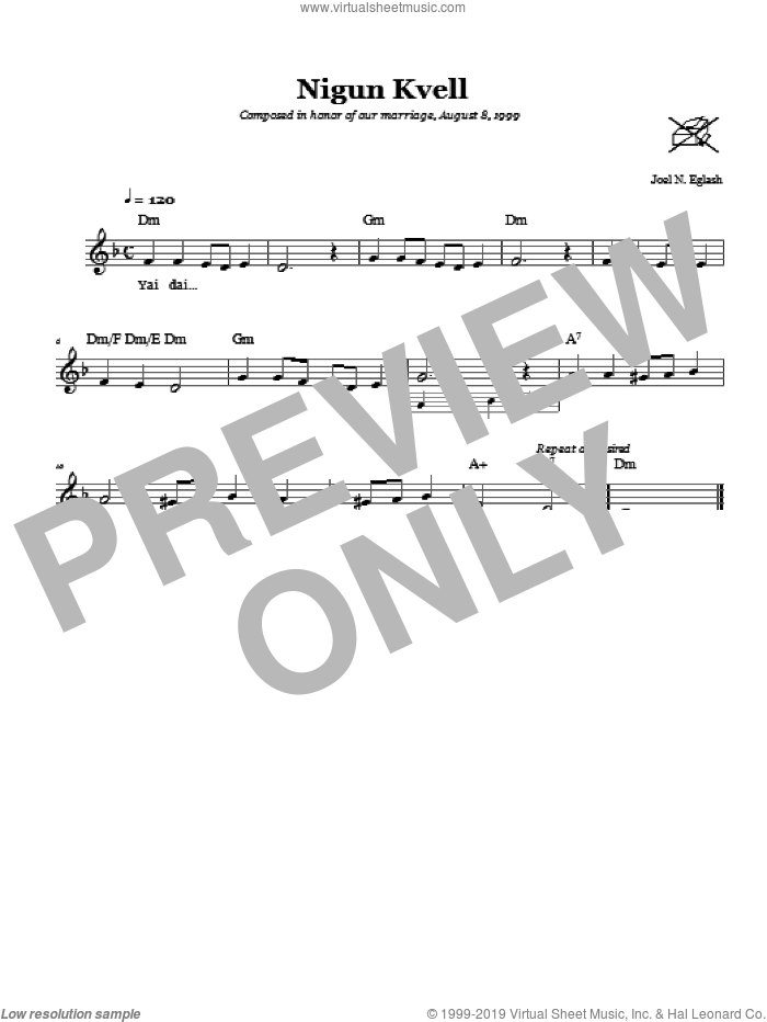 Nigun Kvell (Wordless Melody) sheet music for voice and other instruments (fake book) by Joel N. Eglash, intermediate voice. Score Image Preview.