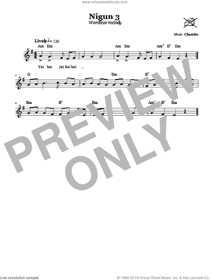 Nigun 3 (Wordless Melody) sheet music for voice and other instruments (fake book) by Chasidic. Score Image Preview.