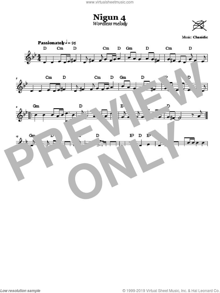 Nigun 4 (Wordless Melody) sheet music for voice and other instruments (fake book) by Chasidic