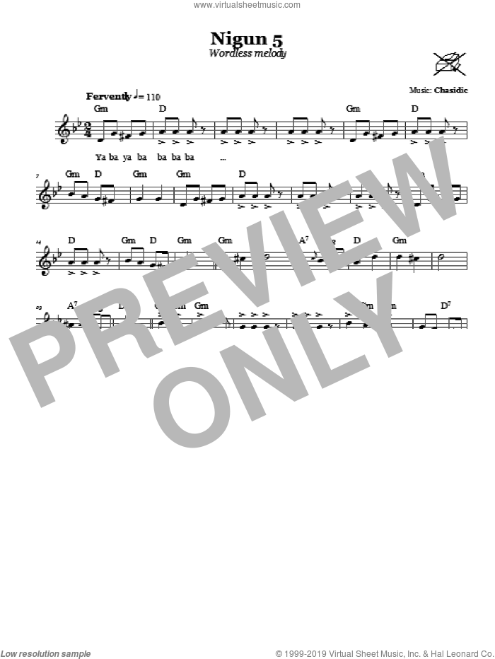 Nigun 5 (Wordless Melody) sheet music for voice and other instruments (fake book) by Chasidic. Score Image Preview.