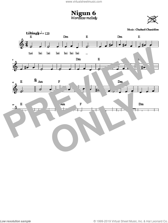 Nigun 6 (Wordless Melody) sheet music for voice and other instruments (fake book) by Chabad Chasidim. Score Image Preview.