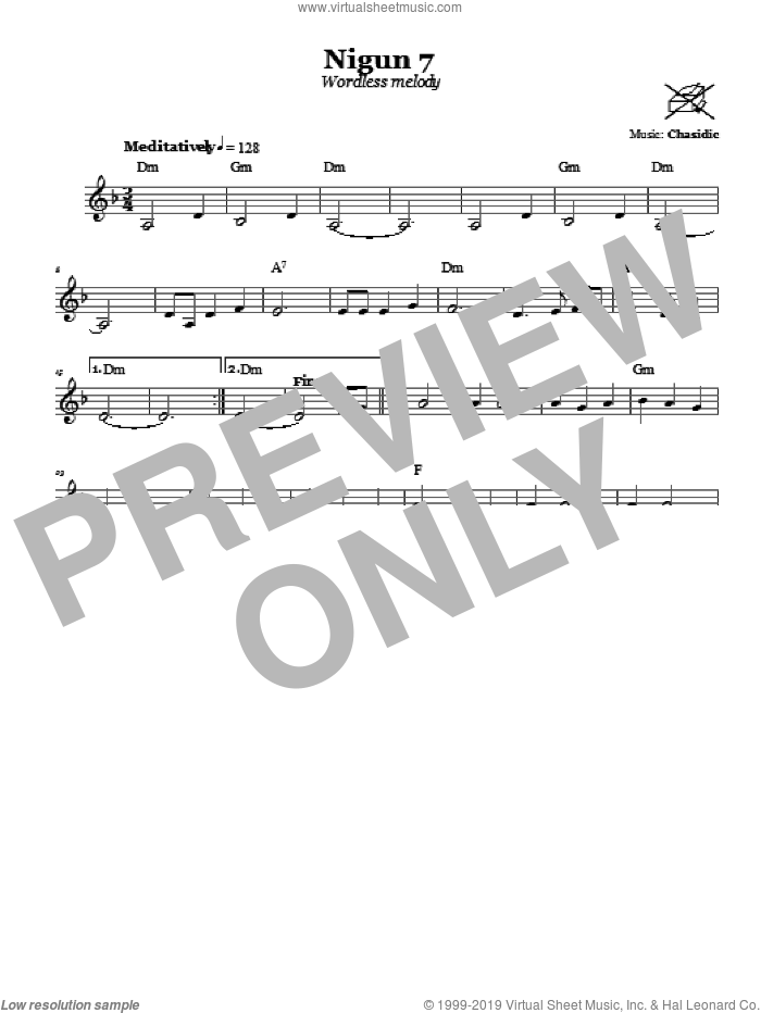 Nigun 7 (Wordless Melody) sheet music for voice and other instruments (fake book) by Chasidic, intermediate voice. Score Image Preview.