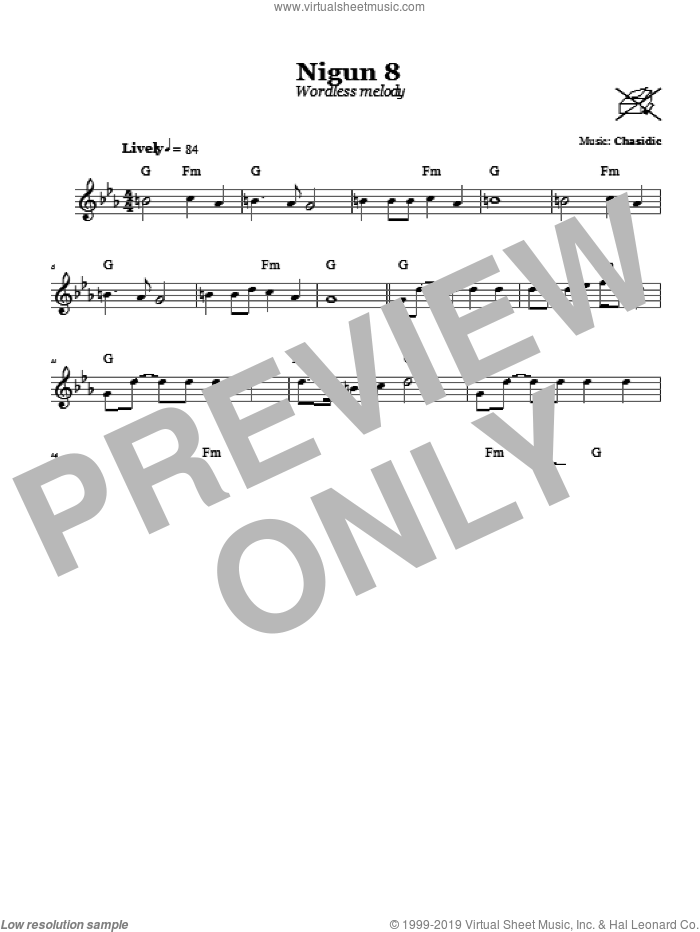 Nigun 8 (Wordless Melody) sheet music for voice and other instruments (fake book) by Chasidic, intermediate skill level