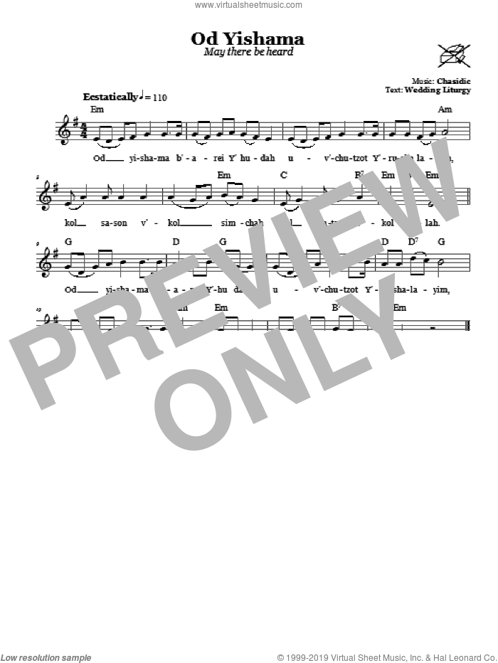Od Yishama (May There Be Heard Again) sheet music for voice and other instruments (fake book) by Chasidic. Score Image Preview.
