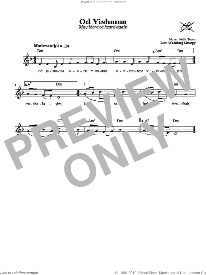 Od Yishama (May There Be Heard Again) sheet music for voice and other instruments (fake book). Score Image Preview.