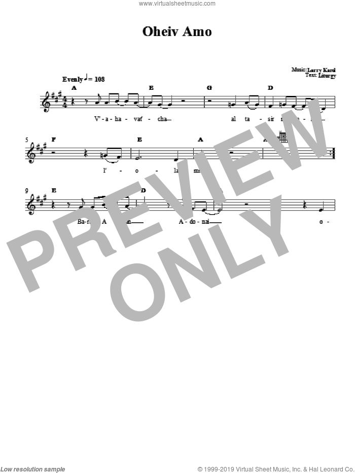 Oheiv Amo sheet music for voice and other instruments (fake book) by Larry Karol
