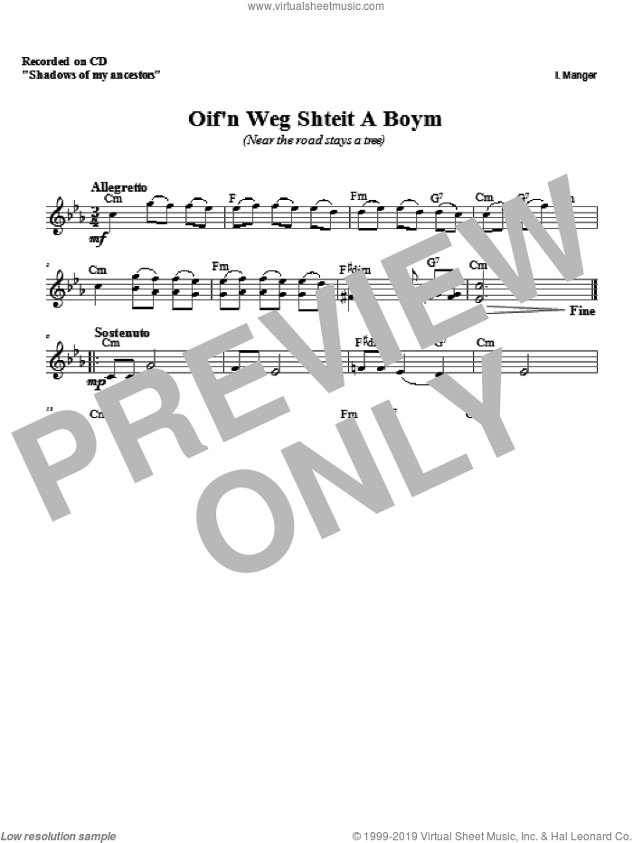 Oif'n Weg Shteit A Boym sheet music for voice and other instruments (fake book) by Zinovy Goro. Score Image Preview.