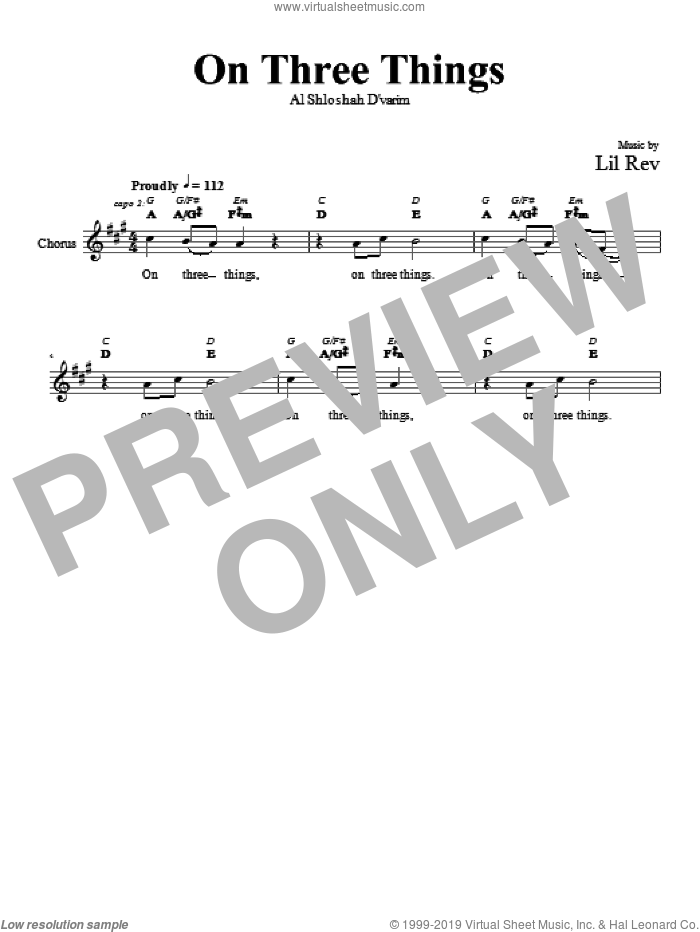 On Three Things sheet music for voice and other instruments (fake book) by Lil Rev. Score Image Preview.