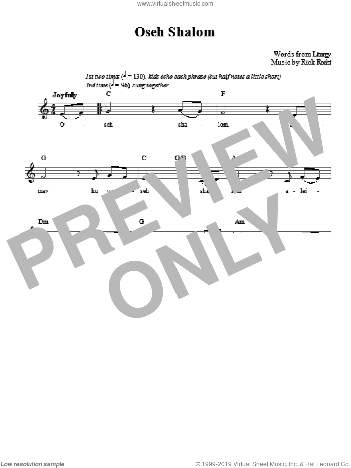 Oseh Shalom sheet music for voice and other instruments (fake book) by Rick Recht