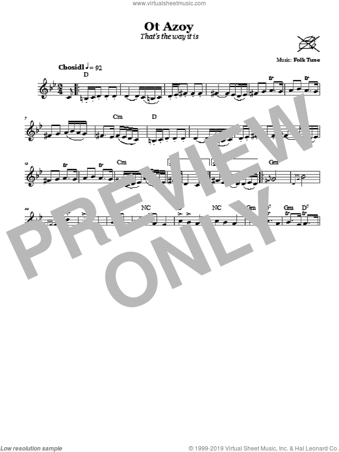 Ot Azoy (That's The Way It Is) sheet music for voice and other instruments (fake book). Score Image Preview.