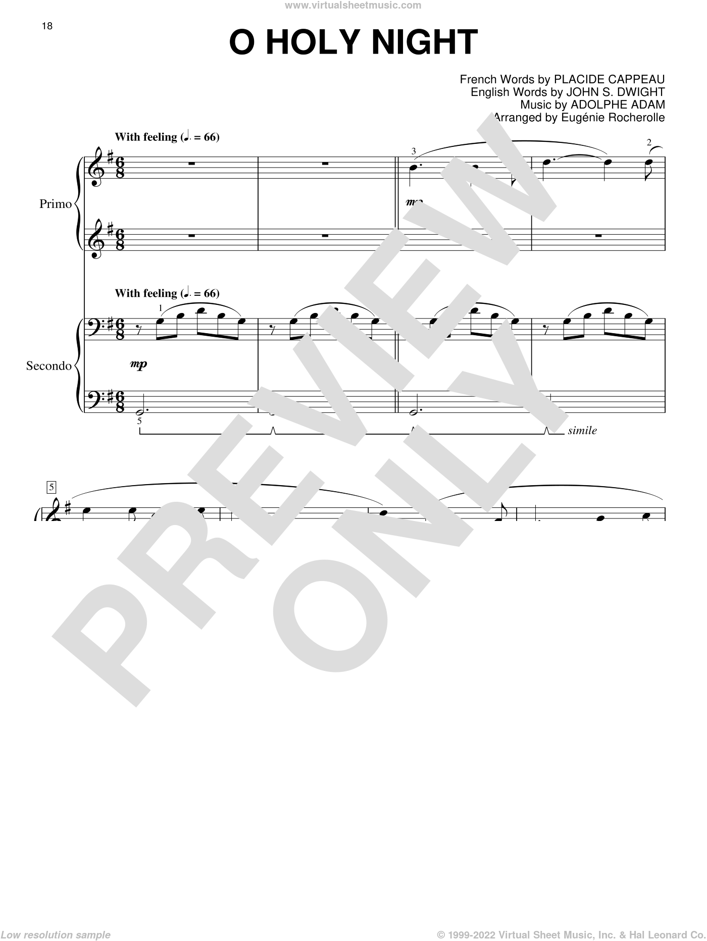 O Holy Night sheet music for piano four hands (duets) by Placide Cappeau