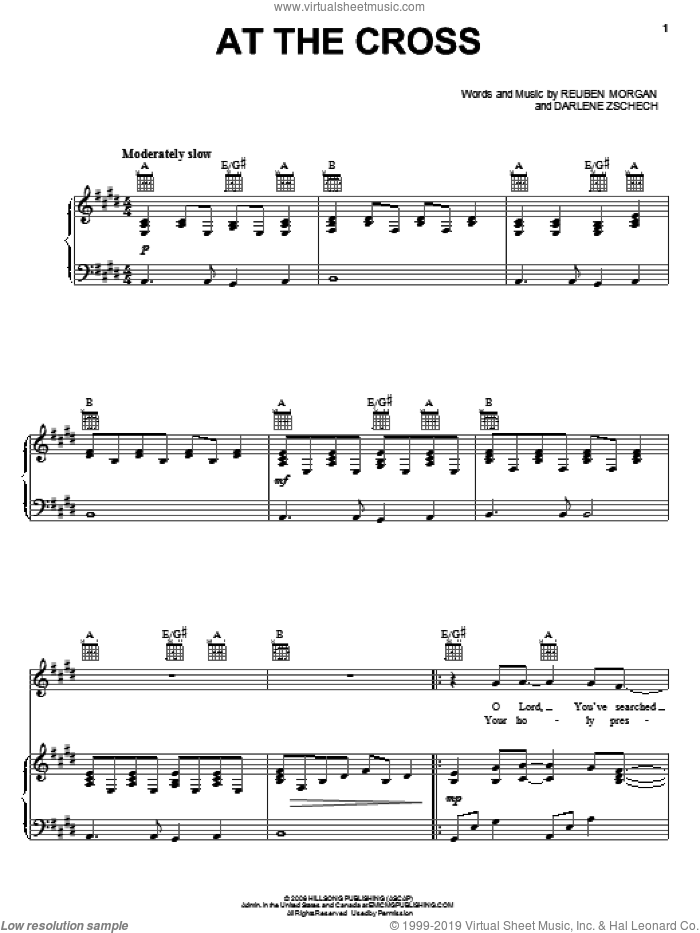 At The Cross sheet music for voice, piano or guitar by Reuben Morgan and Darlene Zschech. Score Image Preview.