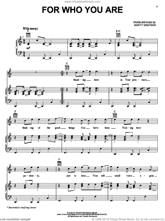 For Who You Are sheet music for voice, piano or guitar by Marty Sampson, intermediate skill level
