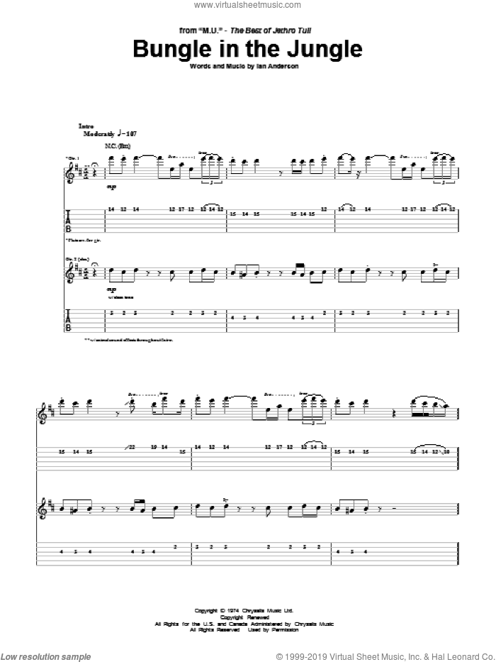 Bungle In The Jungle sheet music for guitar (tablature) by Jethro Tull and Ian Anderson, intermediate. Score Image Preview.