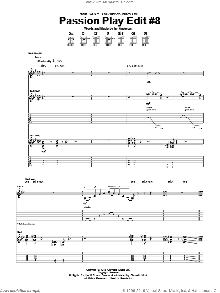Passion Play Edit #8 sheet music for guitar (tablature) by Jethro Tull, intermediate. Score Image Preview.
