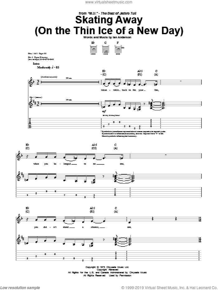 Skating Away (On The Thin Ice Of A New Day) sheet music for guitar (tablature) by Jethro Tull, intermediate. Score Image Preview.