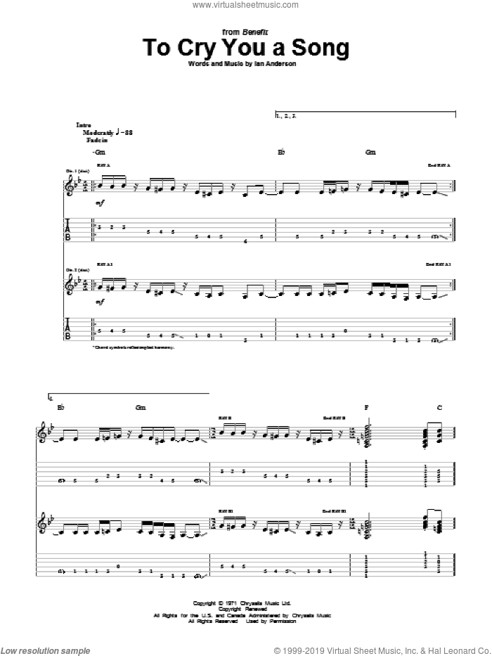 To Cry You A Song sheet music for guitar (tablature) by Jethro Tull and Ian Anderson, intermediate. Score Image Preview.
