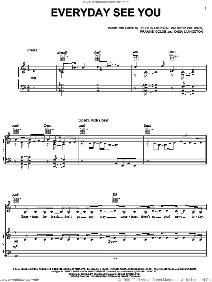 Everyday See You sheet music for voice, piano or guitar by Franne Golde, Andrew Williams and Jessica Simpson. Score Image Preview.