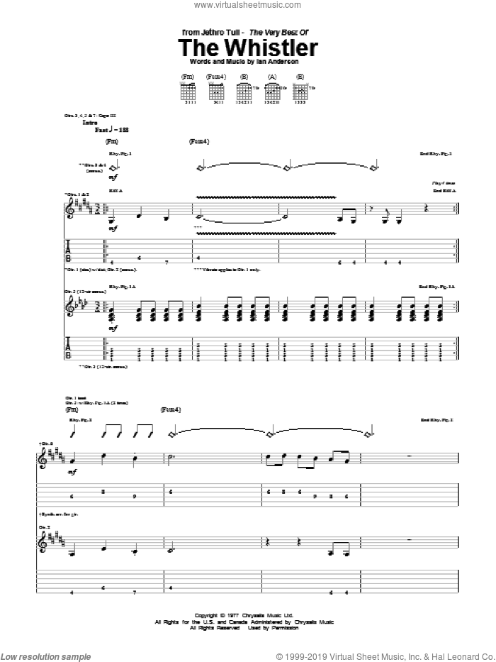 The Whistler sheet music for guitar (tablature) by Ian Anderson