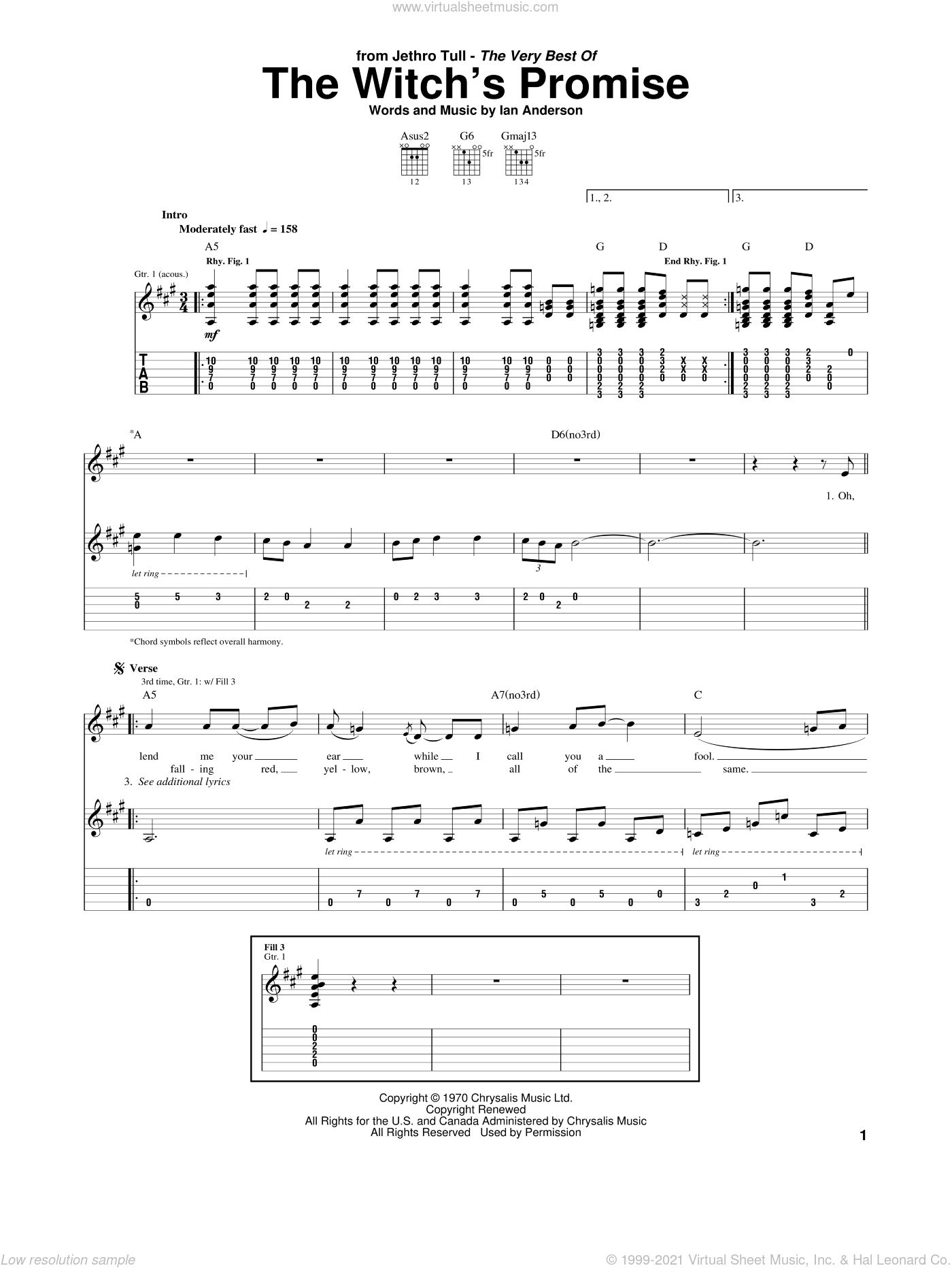 The Witch's Promise sheet music for guitar (tablature) by Jethro Tull and Ian Anderson, intermediate skill level