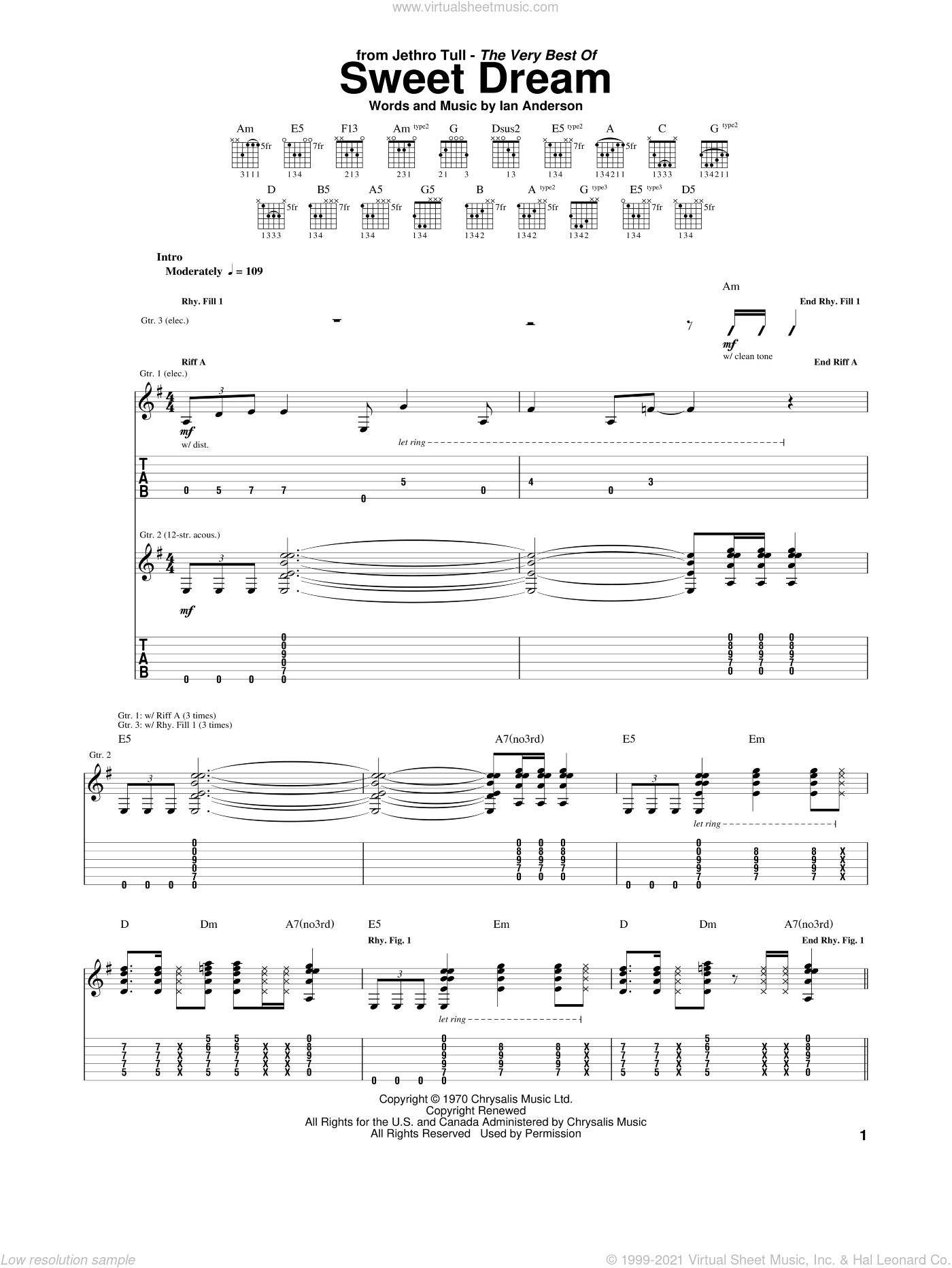 Sweet Dream sheet music for guitar (tablature) by Jethro Tull, intermediate. Score Image Preview.
