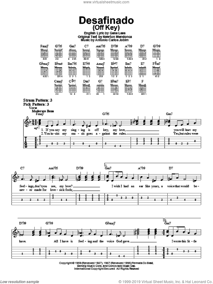 Desafinado (Off Key) sheet music for guitar solo (easy tablature) by Newton Mendonca