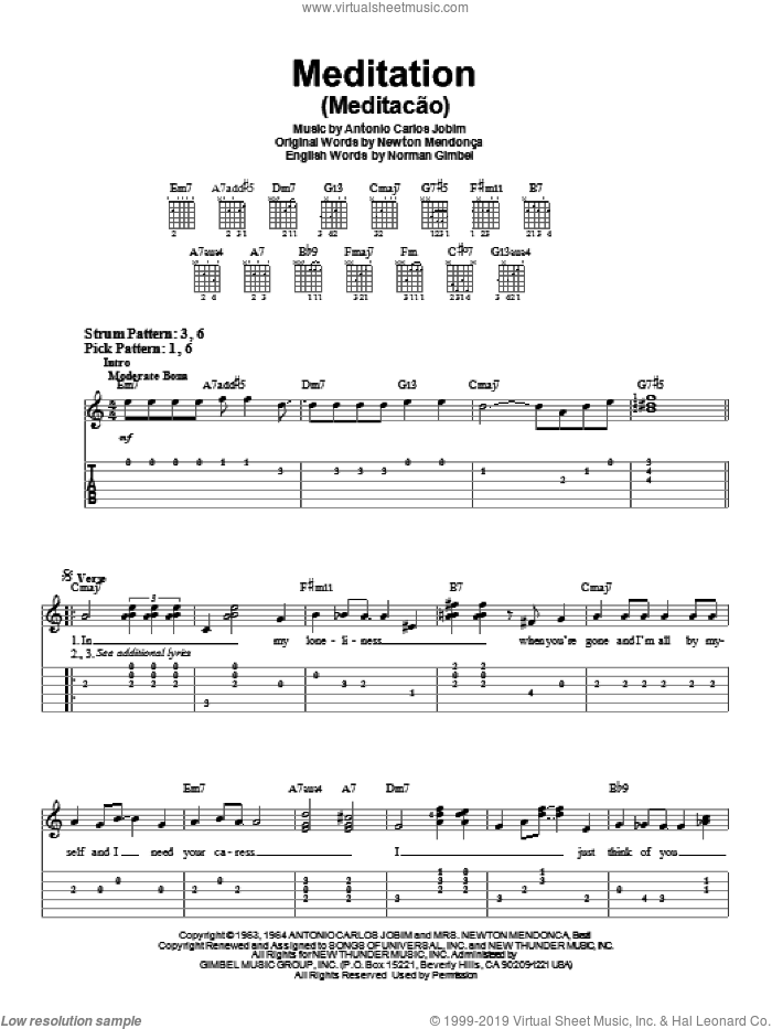 Meditation (Meditacao) sheet music for guitar solo (easy tablature) by Antonio Carlos Jobim, Newton Mendonca and Norman Gimbel, easy guitar (easy tablature)