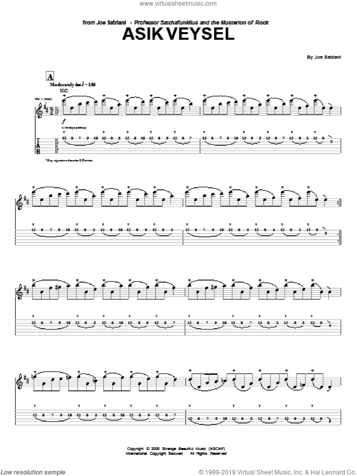Asik Veysel sheet music for guitar (tablature) by Joe Satriani. Score Image Preview.