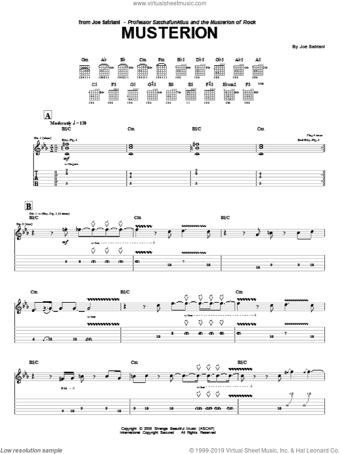 Musterion sheet music for guitar (tablature) by Joe Satriani. Score Image Preview.