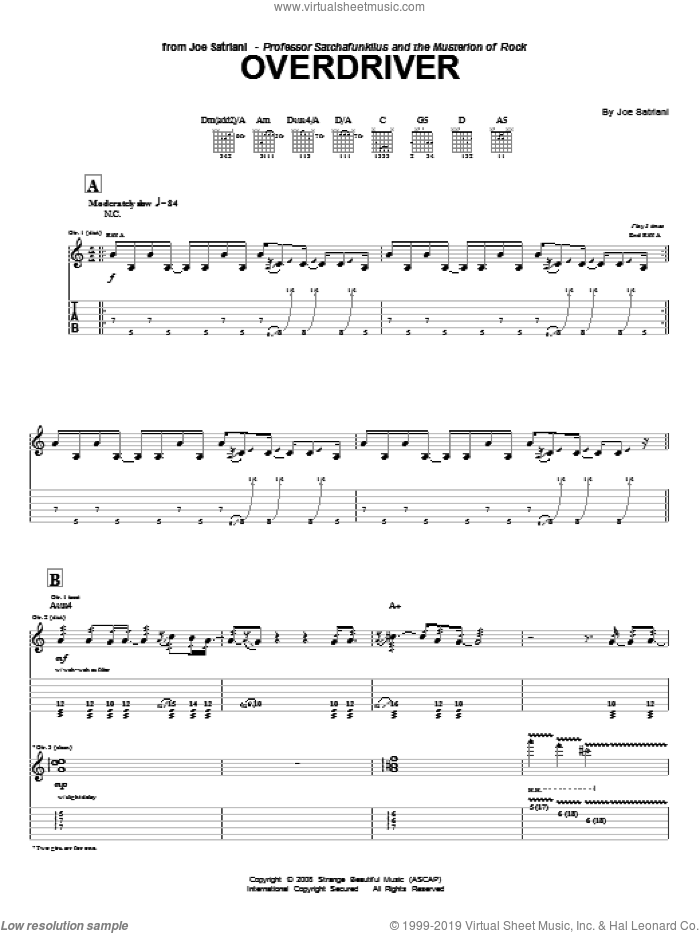 Overdriver sheet music for guitar (tablature) by Joe Satriani. Score Image Preview.