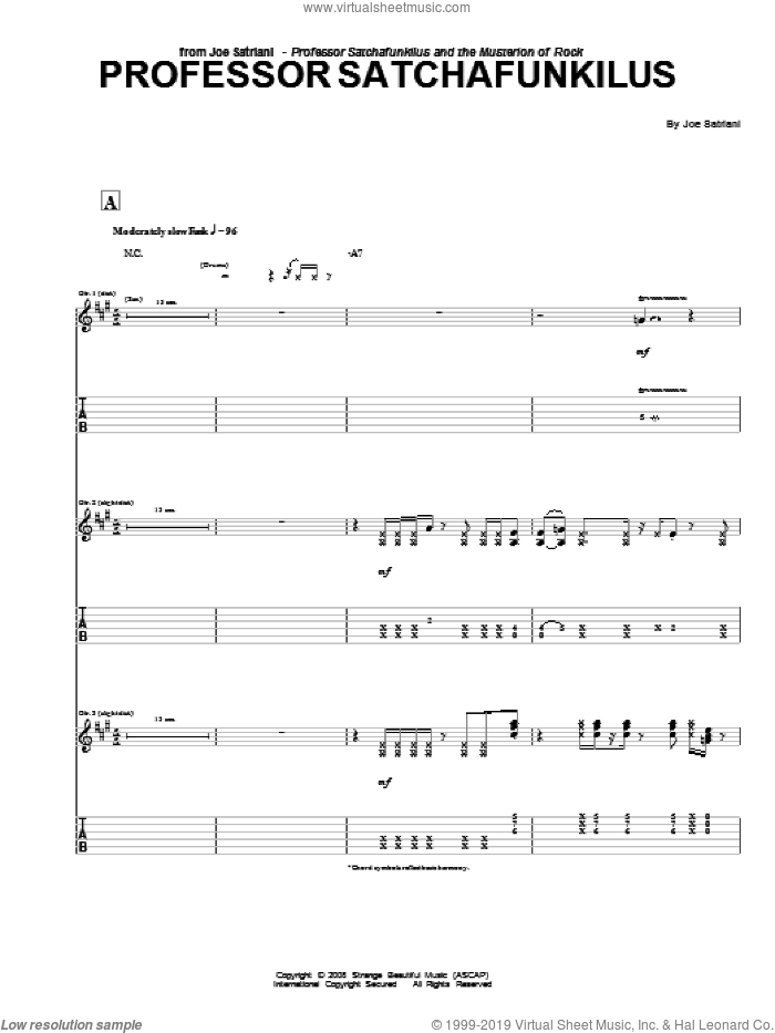 Professor Satchafunkilus sheet music for guitar (tablature) by Joe Satriani, intermediate skill level