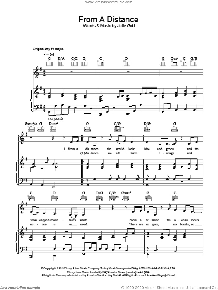 From A Distance sheet music for voice, piano or guitar by Bette Midler, Nanci Griffith and Julie Gold, intermediate skill level