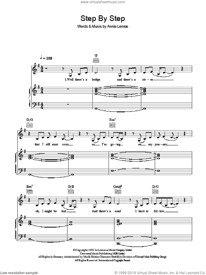 Step By Step sheet music for voice, piano or guitar by Whitney Houston and Annie Lennox. Score Image Preview.