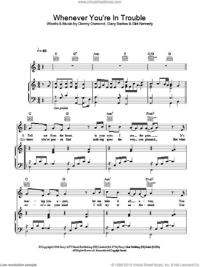 Whenever You're In Trouble sheet music for voice, piano or guitar by Eliot Kennedy, Donny Osmond and Gary Barlow. Score Image Preview.