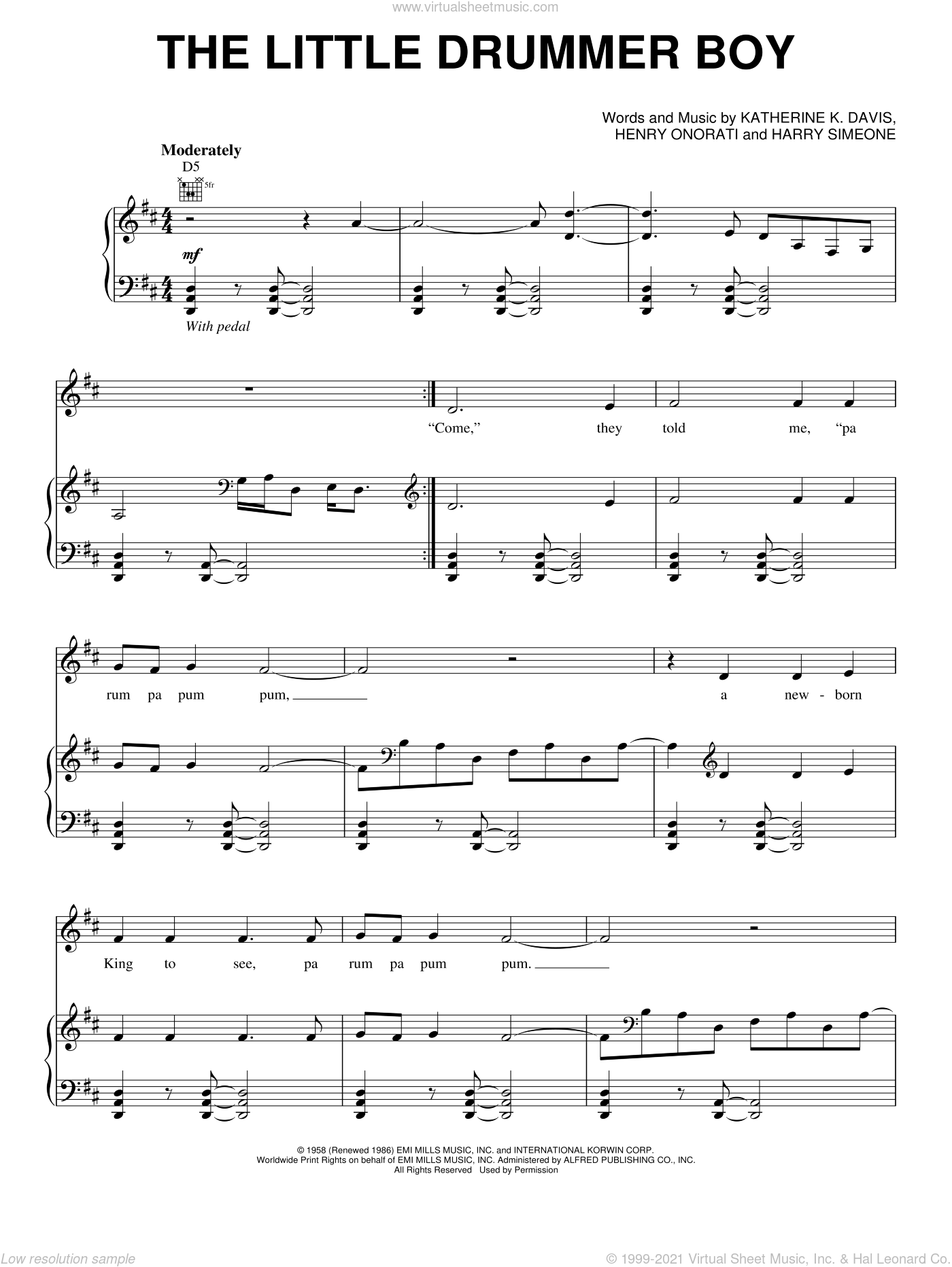 The Little Drummer Boy sheet music for voice, piano or guitar by Josh Groban, Josh Groban featuring Andy McKee, Harry Simeone, Henry Onorati and Katherine Davis, intermediate skill level