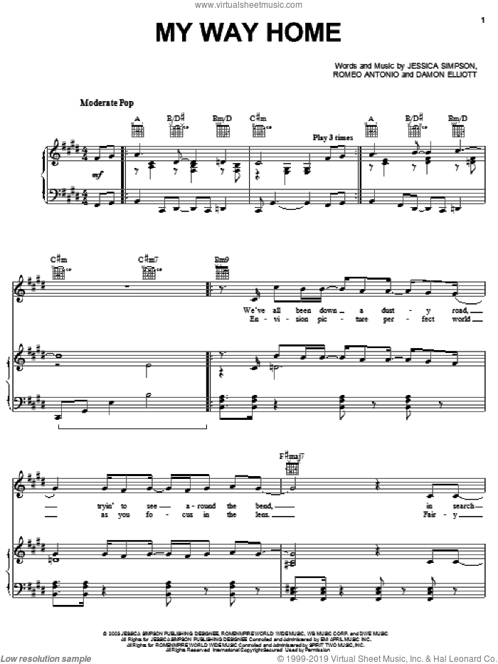 My Way Home sheet music for voice, piano or guitar by Jessica Simpson, Damon Elliott and Romeo Antonio, intermediate skill level