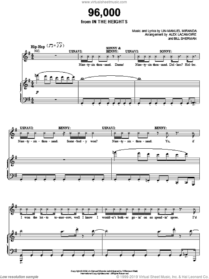 96,000 (from In The Heights: The Musical) sheet music for voice, piano or guitar by Lin-Manuel Miranda and In The Heights (Musical), intermediate skill level