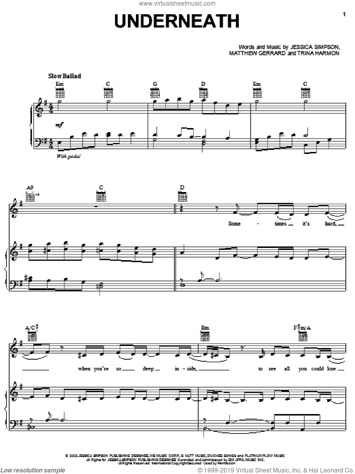 Underneath sheet music for voice, piano or guitar by Jessica Simpson, Matthew Gerrard and Trina Harmon, intermediate skill level