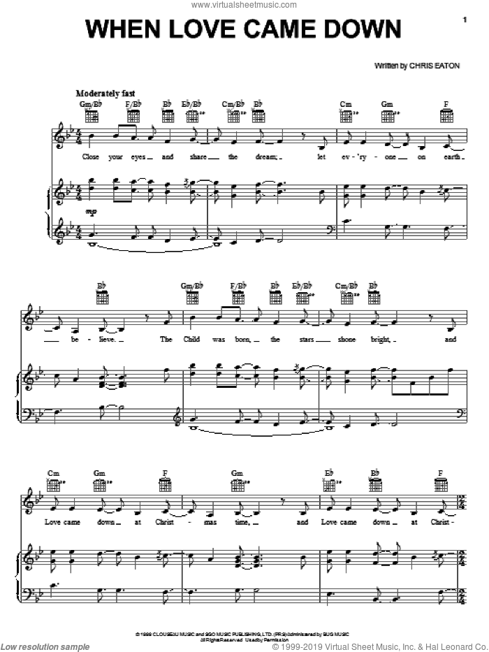 When Love Came Down sheet music for voice, piano or guitar by Point Of Grace and Chris Eaton, intermediate skill level